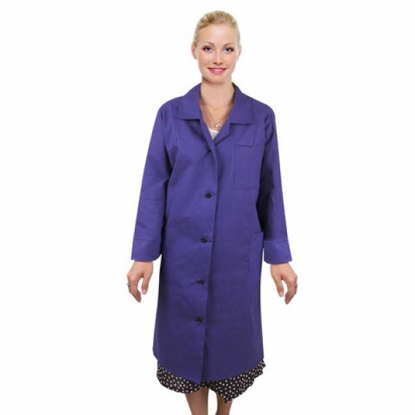 Халат рабочий женский синий, бязь, размер 48-50, рост 158-164, плотность ткани 142 г/м2, 610803