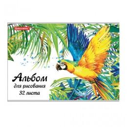Альбом для рисования А4 32 л., скоба, блестки, BRAUBERG, 202х285 мм, Попугай (1 вид), 105612