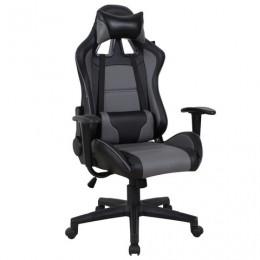 Кресло компьютерное BRABIX GT Racer GM-100, две подушки, экокожа, черное/серое, 531926