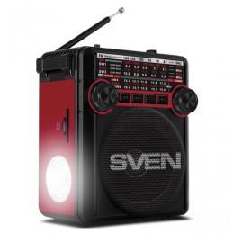 Радиоприёмник SVEN SRP-355, 3 Вт, FM/AM/SW, USB, microSD и SD, пластик, черный/красный, SV-017132