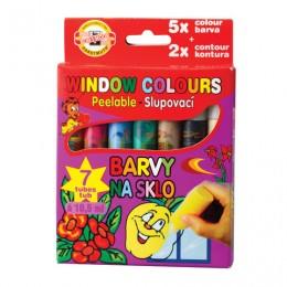 Краски по стеклу (витражные) KOH-I-NOOR, 7 цветов по 10,5 мл, в пластиковых тубах, европодвес, 9738007001KK
