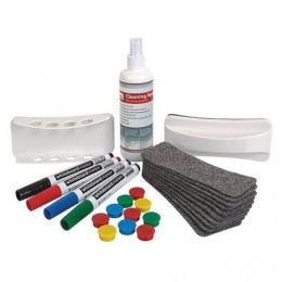 Набор для магнитно-маркерной доски (4 маркера, держатель, чистящее средство, стиратель, салфетки), 2х3 (Польша), AS111