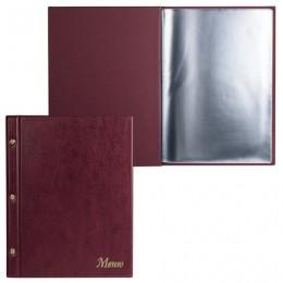 Папка Меню на трех винтах, с 10 файлами, 220х320 мм, бордовая, ДПС, 2273.М-103