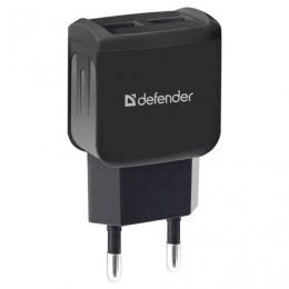 Зарядное устройство сетевое (220 В) DEFENDER UPC-21, кабель microUSB 1 м, выходной ток 2,1 А, черное, 83581