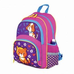 Рюкзак ПИФАГОР+ для начальной школы, девочка, Пес и кот, 40х30х15 см, 227941