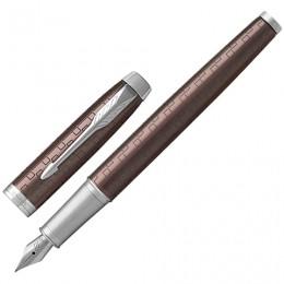 Ручка перьевая PARKER IM Premium Brown CT, корпус коричневый с гравировкой, хромированные детали, синяя, 1931676