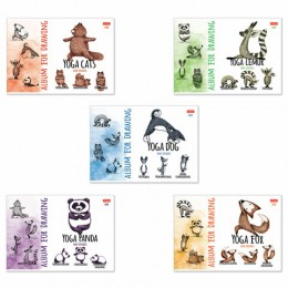 Альбом д/рис. А4 24л., скоба, обложка картон, HATBER, 205х290мм, Animals Yoga, 24А4В