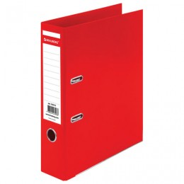 Папка-регистратор BRAUBERG EXTRA, 75 мм, красная, двустороннее покрытие пластик, металлический уголок, 228572