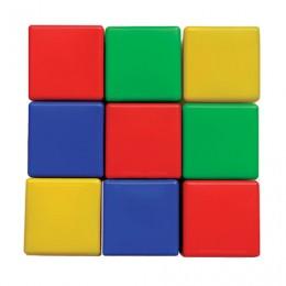Кубики пластиковые, 9 шт., 8х8х8 см, цветные,