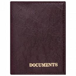 Обложка для автодокументов STAFF, экокожа, DOCUMENTS, бордовая, 237182