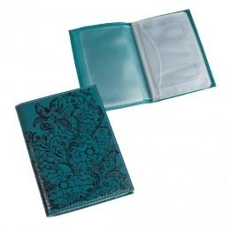 Бумажник водителя BEFLER Гипюр, натуральная кожа, тиснение, 6 пластиковых карманов, бирюзовый, BV.38.-1