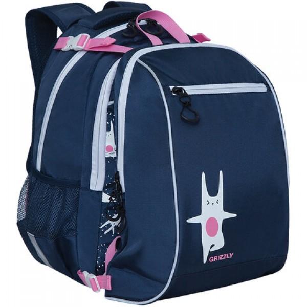 Рюкзак GRIZZLY школьный, анатомическая спинка, с мешком, для девочек,