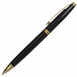 Ручка бизнес-класса шариковая BRAUBERG De Luxe Black, корпус черный, узел 1 мм, линия письма 0,7 мм, синяя, 141411