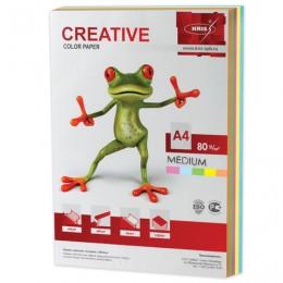 Бумага CREATIVE color (Креатив) А4, 80 г/м2, 250 л., (5 цв.х50 л.) цветная медиум, БОpr-250r