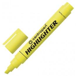 Текстмаркер CENTROPEN, скошенный наконечник 1-4,6 мм, неоновый желтый, 8852/1Ж