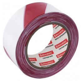 Лента сигнальная красно-белая, 75 мм х 200 м, BRAUBERG Грандмастер, основа полиэтилен, 604892