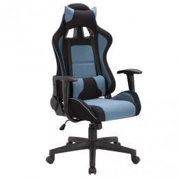 Кресло компьютерное BRABIX GT Racer GM-100, две подушки, ткань, черное/голубое, 531818