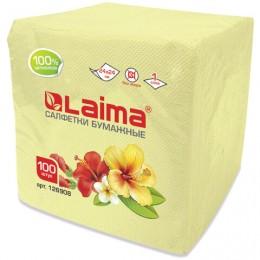 Салфетки бумажные, 100 шт., 24х24 см, ЛАЙМА, жёлтые (пастель), 100% целлюлоза, 126908