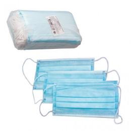 Маски медицинские, комплект 50 шт., 3-х слойные на резинке, голубые, упаковка полиэтилен