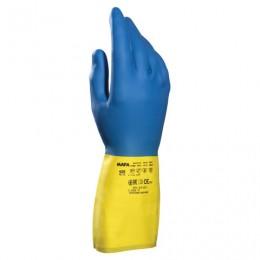 Перчатки латексно-неопреновые MAPA Duo Mix/Alto 405, хлопчатобумажное напыление, размер 8 (M), синие/желтые