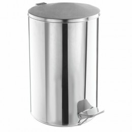 Ведро для мусора с педалью, УСИЛЕННОЕ, ТИТАН, 10 литров, кольцо под мешок, нержавеющая сталь, хром
