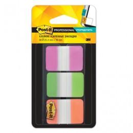 Закладки клейкие POST-IT Professional, пластик, 25 мм, 3 цвета х 22 шт., суперклейкие, 686-PGO-RU
