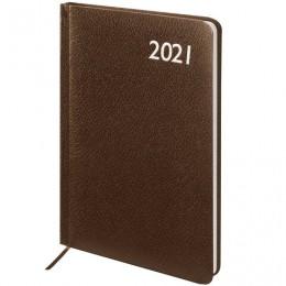 Еженедельник 2021 (145*215мм), А5, BRAUBERG Profile, балакрон, коричневый, 111540