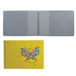 Обложка для пластиковых карт, дорожных билетов, студенческих билетов БАБОЧКА, кожзаменитель, желтая, ДПС, 2757.Т1