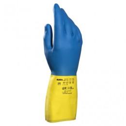 Перчатки латексно-неопреновые MAPA Duo Mix/Alto 405, хлопчатобумажное напыление, размер 9 (L), синие/желтые