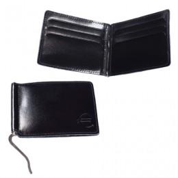 Зажим для купюр BEFLER Classic, натуральная кожа, тиснение, 120х86 мм, черный, Z.6.-1