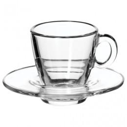 Набор кофейный на 6 персон (6 чашек объемом 72 мл, 6 блюдец), стекло, Aqua, PASABAHCE, 95756
