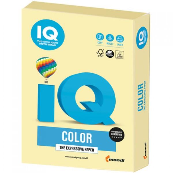 Бумага цветная IQ color, А4, 160 г/м2, 250 л., пастель, желтая, YE23