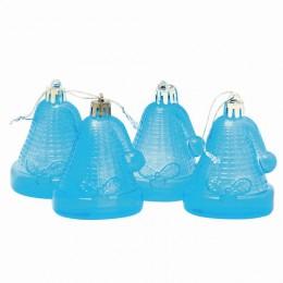 Украшения елочные подвесные Колокольчики, НАБОР 4 шт., 6,5 см, пластик, полупрозрачные, голубые, 59598