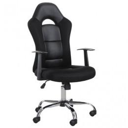 Кресло офисное BRABIX Fusion EX-560, экокожа/ткань, хром, черное, 531581