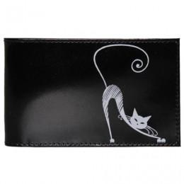 Визитница карманная BEFLER Изящная кошка, на 40 визиток, натуральная кожа, тиснение, черная, V.37.-1