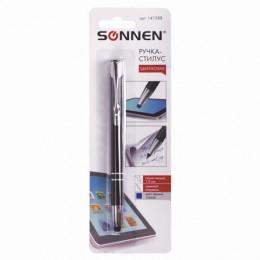 Ручка-стилус SONNEN для смартфонов/планшетов, корпус черный, серебристые детали, 1 мм, блистер, синяя, 141588