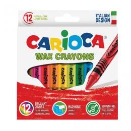 Восковые мелки CARIOCA (Италия), 12 цветов, смываемые, картонная коробка с европодвесом, 42365