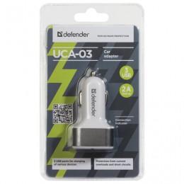 Зарядное устройство на 3 USB-порта, автомобильное DEFENDER UCA-03, серое, 83570