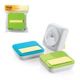 Диспенсер для блоков (стикеров) POST-IT, настольный, компактный + блок 76х76 мм, 50 л., ассорти, OL-330-MX