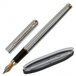 Ручка бизнес-класса перьевая BRAUBERG Maestro, СИНЯЯ, корпус серебристый с золотистыми деталями, линия письма 0,25 мм, 143469