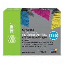 Картридж струйный CACTUS (CS-C9361) для HP Officejet 6313/Photosmart C3183, цветной, 12 мл