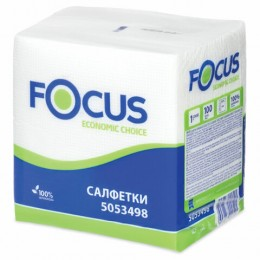 Салфетки бумажные 100шт, 24x24 см, FOCUS Economic, белые, 100% целлюлоза, 5053498