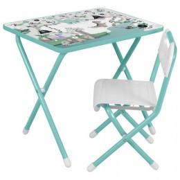 Стол детский + стул ДЭМИ, рост 2, складной, с пеналом, бирюзовый каркас,