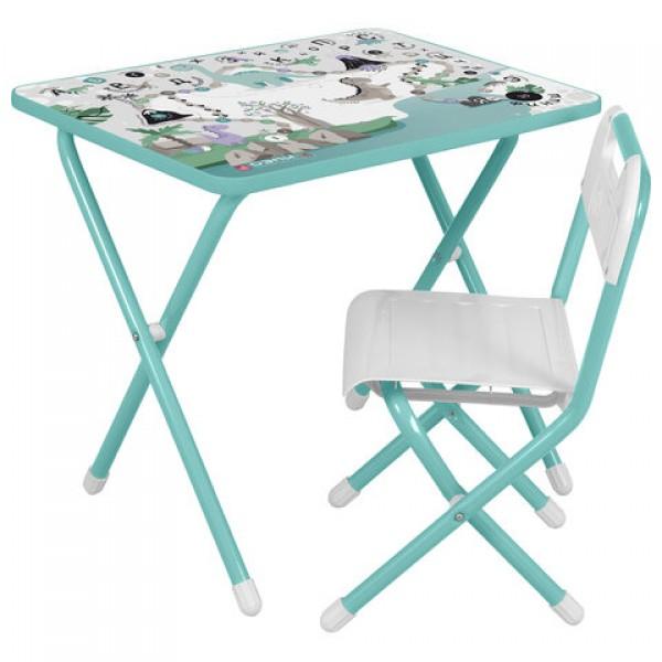 Стол детский + стул ДЭМИ, рост 2, складной, бирюзовый каркас,