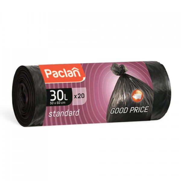 Мешки для мусора 30 л, черные, в рулоне 20 шт., ПНД, 7,3 мкм, 50х60 см, PACLAN