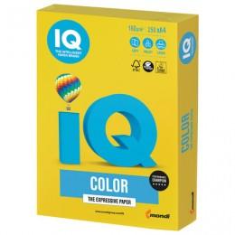 Бумага IQ color, А4, 160 г/м2, 250 л., интенсив, ярко-желтая, IG50