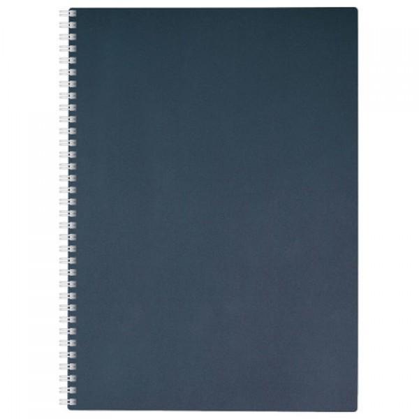 Тетрадь, А4, 80 л., HATBER, гребень, клетка, обложка пластик, METALLIC-темно-синяя, 80Т4В1гр_03411