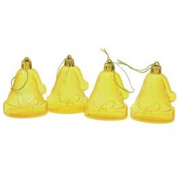 Украшения елочные подвесные Колокольчики, НАБОР 4 шт., 6,5 см, пластик, полупрозрачные, лимоннные, 59597