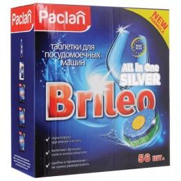 Таблетки для мытья посуды в посудомоечных машинах 56 шт., PACLAN Brileo All in one Silver, 419170