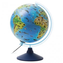 Глобус зоогеографический GLOBEN Классик Евро, диаметр 250 мм, с подсветкой, детский, Ке012500270